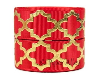 "Red Metallic Ribbon, 7/8"" Gold Foil Print Quatrefoil Grosgrain Ribbon - 5 yards - Red"