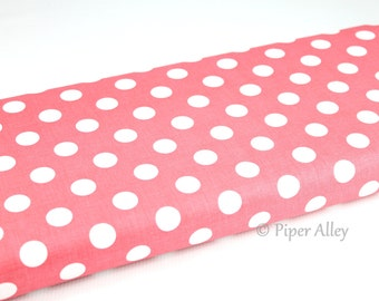 Cotton Fabric, Polka Dot, Coral & White, Riley Blake, 100 % Quilting Cotton ~ By The Half Yard, Lite Coral