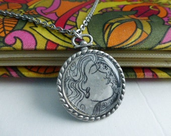 Woman in Profile Pendant Necklace Fashion Accessories Gift Products