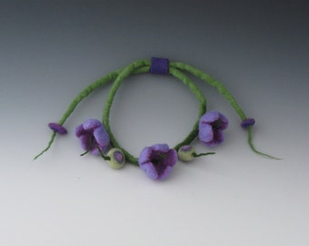 Felted Flower Necklace, Felted Necklace, Felted Flower, Flower Necklace, Felted Jewelry