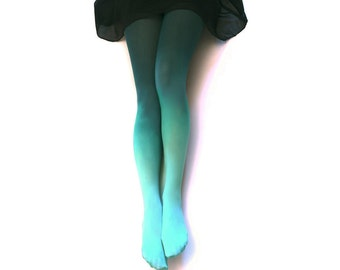 Ombre Tights. AQUA Hand dyed.  Gift Idea