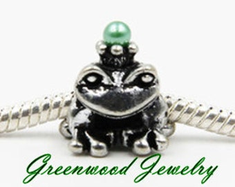 Prince Charming-European Style Bead Charm for European Bracelet, Silver Plate, Frog-Green Stone-Crown