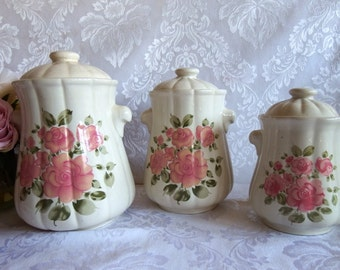 Vintage Canister Set Roseland pattern by Gibson Designs