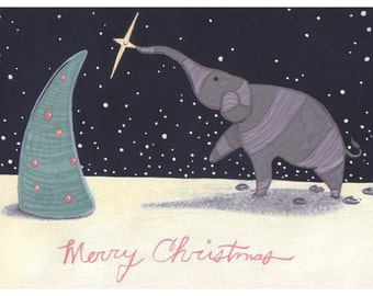 Elephant Christmas Card - Set of 10