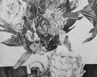 Spring Still Life -graphite pencil drawing