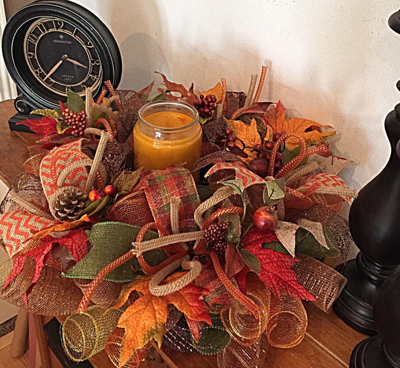 Fall candle centerpiece arrangement deco mesh
