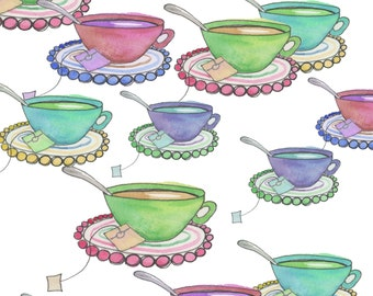 Cute, hand-painted watercolor clip art tea cups with spoon and saucer; instant digital download