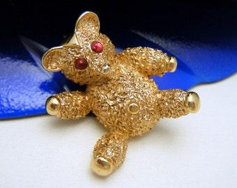 Crown Trifari Figural Teddy Bear Pin Red Glass Cabochon Eyes Gold Tone