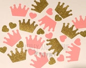 Crown Confetti Pink and Gold Custom Colors It's A Girl Baby Shower Decoration Glitter Princess Party Decor