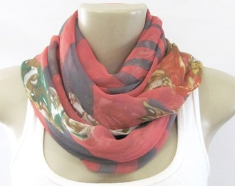 Fashion Scarves Pink Gray Stripes Floral Scarf