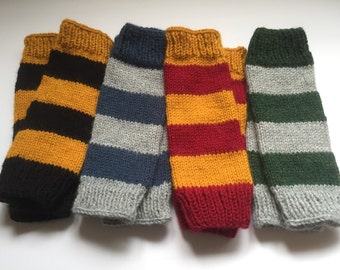 Harry Potter Type Gloves/Arm Warmers | Harry Potter Knit Gloves  | Texting Gloves | All Houses of Hogwarts | Fingerless Gloves