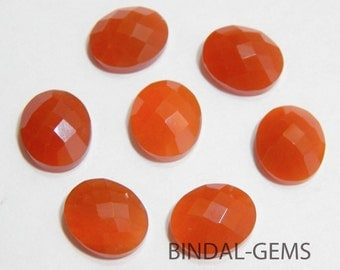 Wholesale Lot 5 Pieces Amazing Red Onyx Oval Shape Checker Cut Gemstone For Jewelry