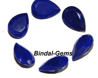 25 Pieces Wholesale Lot Lapis Lazuli Pear Faceted Cut Loose Gemstone For Jewelry