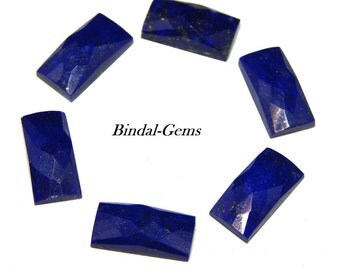 25 Pieces Natural Lot Lapis Lazuli Baguette Checker Cut Gemstone For Jewelry