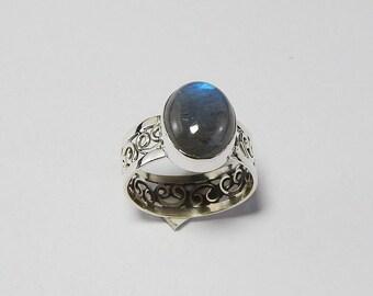 925 Sterling Silver Labradorite Gemstone Ring Jewelry