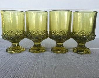 4 Vintage glasses Franciscan Madeira Citron green juice wine glass, crystal green glass goblets, retro green Tiffin glasses, 1970 glassware