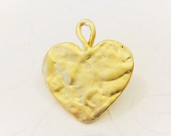 Vermeil, 18k gold over 925 sterling silver large hammered heart, matte gold hammered heart, vermeil heart