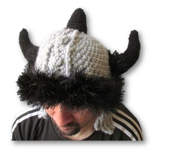 Crochet Viking Helmet, Knit viking hat, Barbarian hat, helmet with ...