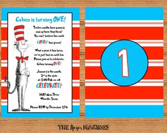 Dr. Seuss Cat In The Hat First Birthday Party Invitation