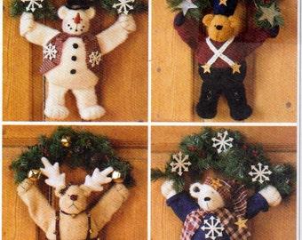 Warm Fuzzy Winter Home Decor, 14 Inch Bear wreaths, Soldier Bear, Reindeer Bear, Snowman Bear, Sweater Bear , McCalls 2390, craft Pattern