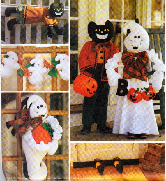 Halloween front porch or yard decorations porch greeter ghost for Christmas cat yard decorations