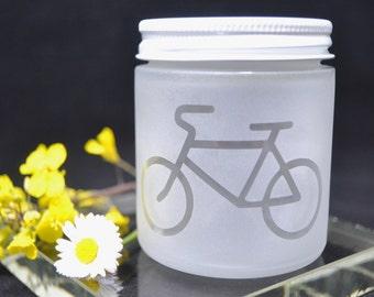Frosted Jar, Sandblasted Stash Jar, Frosted Bike Jar, Bicycle Jar, Stash Jar, Etched Jar, Matte Finish Jar