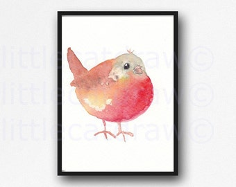 Bird Print Chubby Bird Watercolor Painting Art Print Red Robin Watercolour Wall Art Bird Decor Unframed Wall Decor