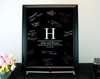 Black Painted Wedding Signature Frame - Painted Glass