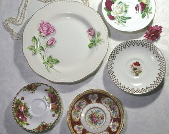 Vintage decorative wall plates with roses in red, yellow, white and pink. Instant wall art display. Royal Albert, wood and sons,  windsor.