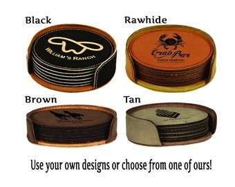 Personalized Leatherette Round Coaster Gift Set of 6 with Holder