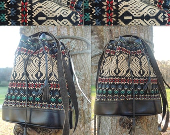 000162 Vintage Turkish Wool Kilim  Bucket bag Rich Vibrant Colors and Leather Braided Drawstring and Accents -by God Oddities Decor on Etsy