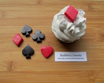 POKER CARD SUIT Chocolate Cupcake Toppers - (24) Vegas Wedding/Poker Party/Casino Night