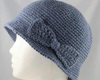 Cloche Hat in Faded Denim Blue for Cancer Patients