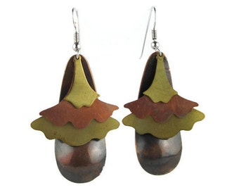 Vintage Modernist Multi Color Brass Copper and Bronze Earrings