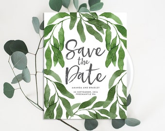 Watercolour Leaves Save the Date (Personalised DIY Printables)