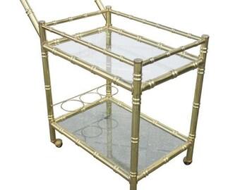 Vintage Faux Bamboo Brass Bar Cart   Hollywood Regency   Mid Century  