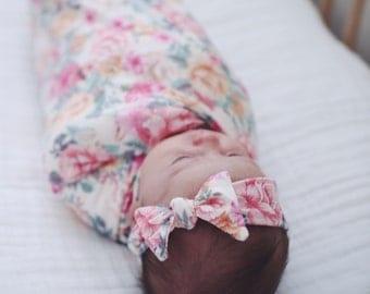 Rose Garden Swaddle and Headband Set / Swaddle Blanket / Knit Swaddle/ Newborn