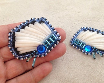 Dentalium shell headress earrings- blue