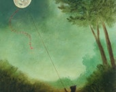 """Fine Art Print of an Original Animal Painting: """"Once Upon A Time, The Moon Dreamt He Was a Kite"""""""