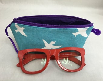 Flying Birds Padded Zipper Glasses Case, Pencil Pouch, Gadget Case - Choose Color