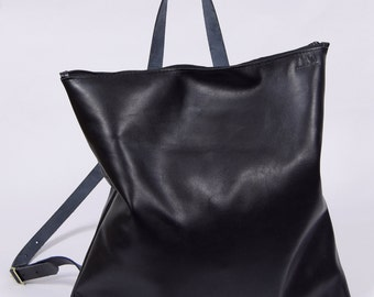 Arne - black leather backpack
