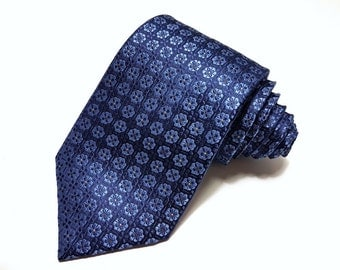 Silk Tie with Navy and Blue Flowers with hint of Grey Dots