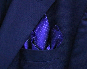 SILK Pocket Square in Pin Dots with Blue Violet and White