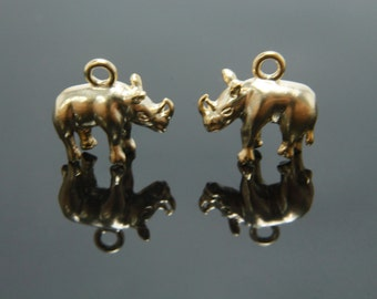 Mini rhinoceros charm, N4-G3, 2 pcs, 11x8mm excluding link, Rhinoceros pendant, Matte gold plated brass, Jewelry making