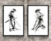 Samurai Set of 2 Print, Warrior Poster, Japanese Painting, Mens Gift Idea, Katana Artwork