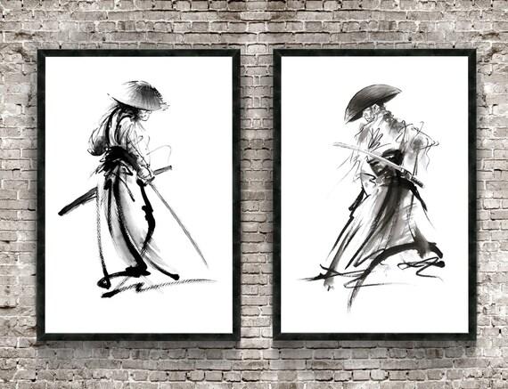 Jeu de samouraï de 2 Estampe, affiche de guerrier, peinture japonaise, idée de cadeau de Mens, oeuvre de Katana