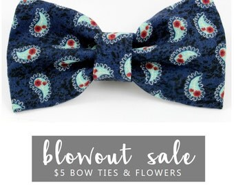 """Dog Bow Tie Collar Accessory Sale Ready to Ship Navy Blue """"The Antonio"""""""
