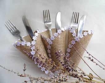 silverware holder burlap cutlery holder rustic wedding accessories wedding silverware holder