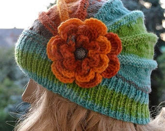 SALE 15% OFF Knitted flower cap / hat lovely warm autumn accessories  women clothing  Knit Hat Womens