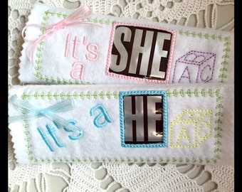Baby Gender Reveal Candy Bar Wrap Machine Embroidery File in pes, dst, vip, jef, hus and vp3 Formats - Instant Download